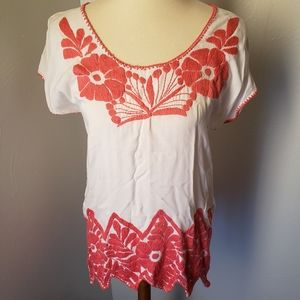Tepoztlán white and coral embroidered blouse